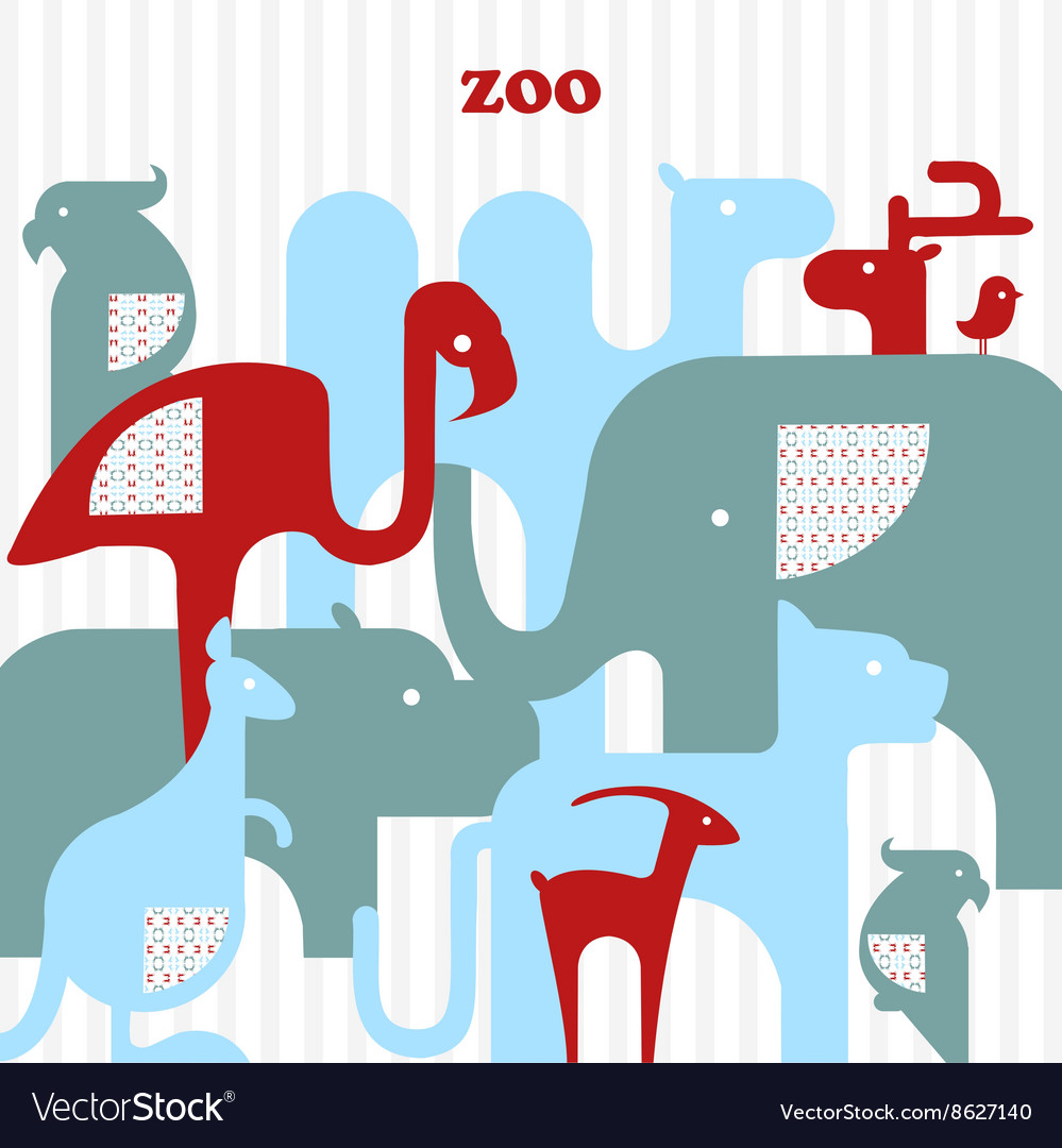 Card with animals vector