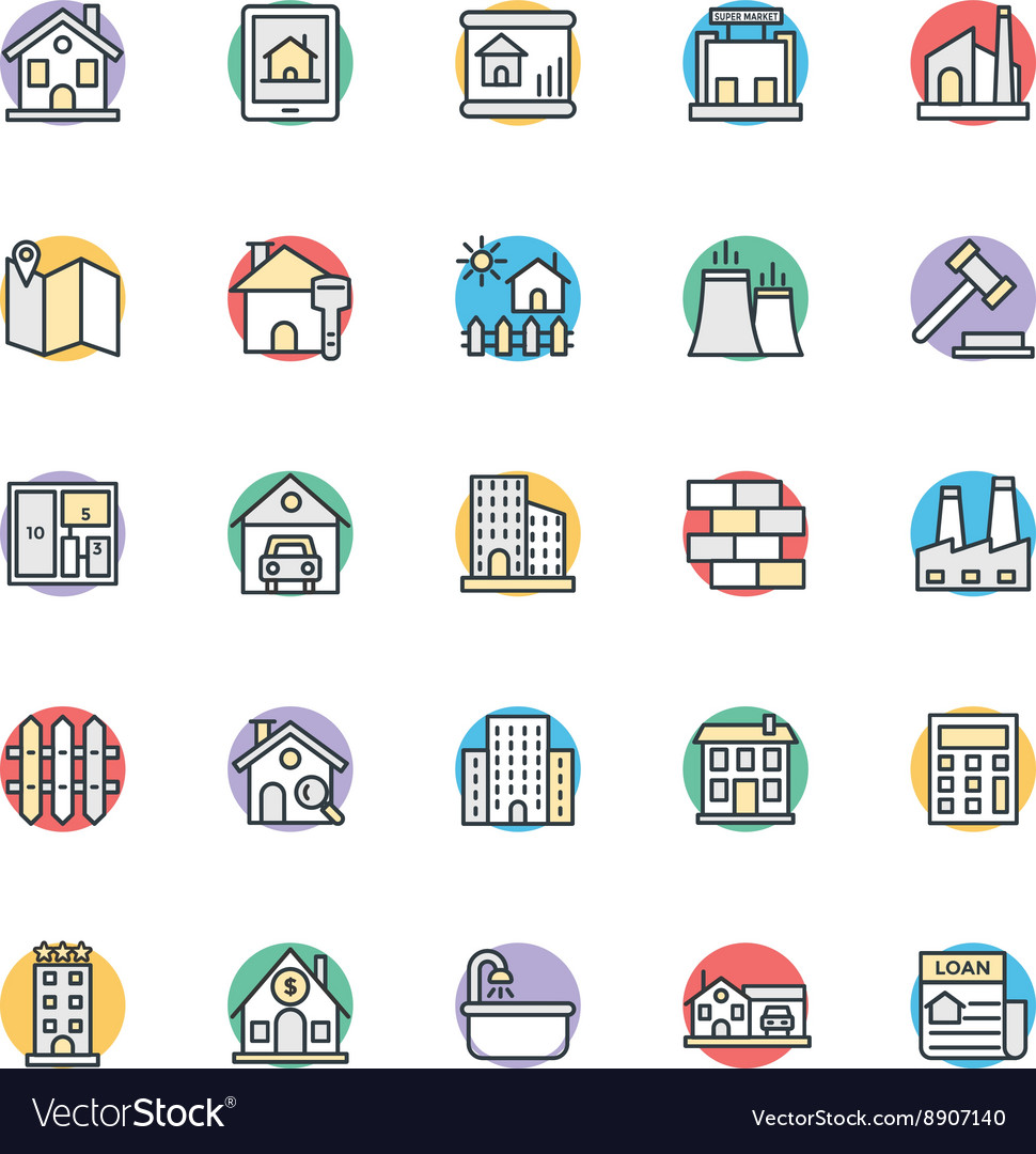 Real estate cool icons 1 vector