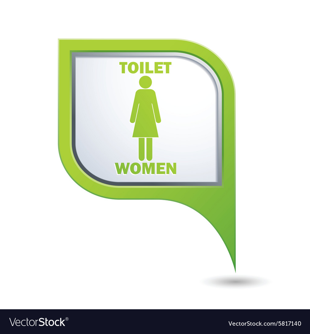 Red map pointer with restroom icons lady vector