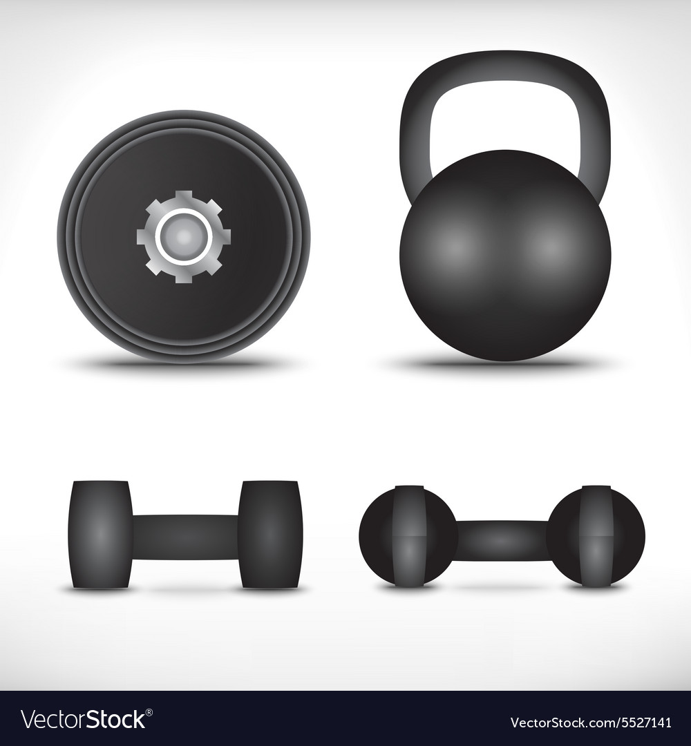 A set of dumbbells isolated on white background vector