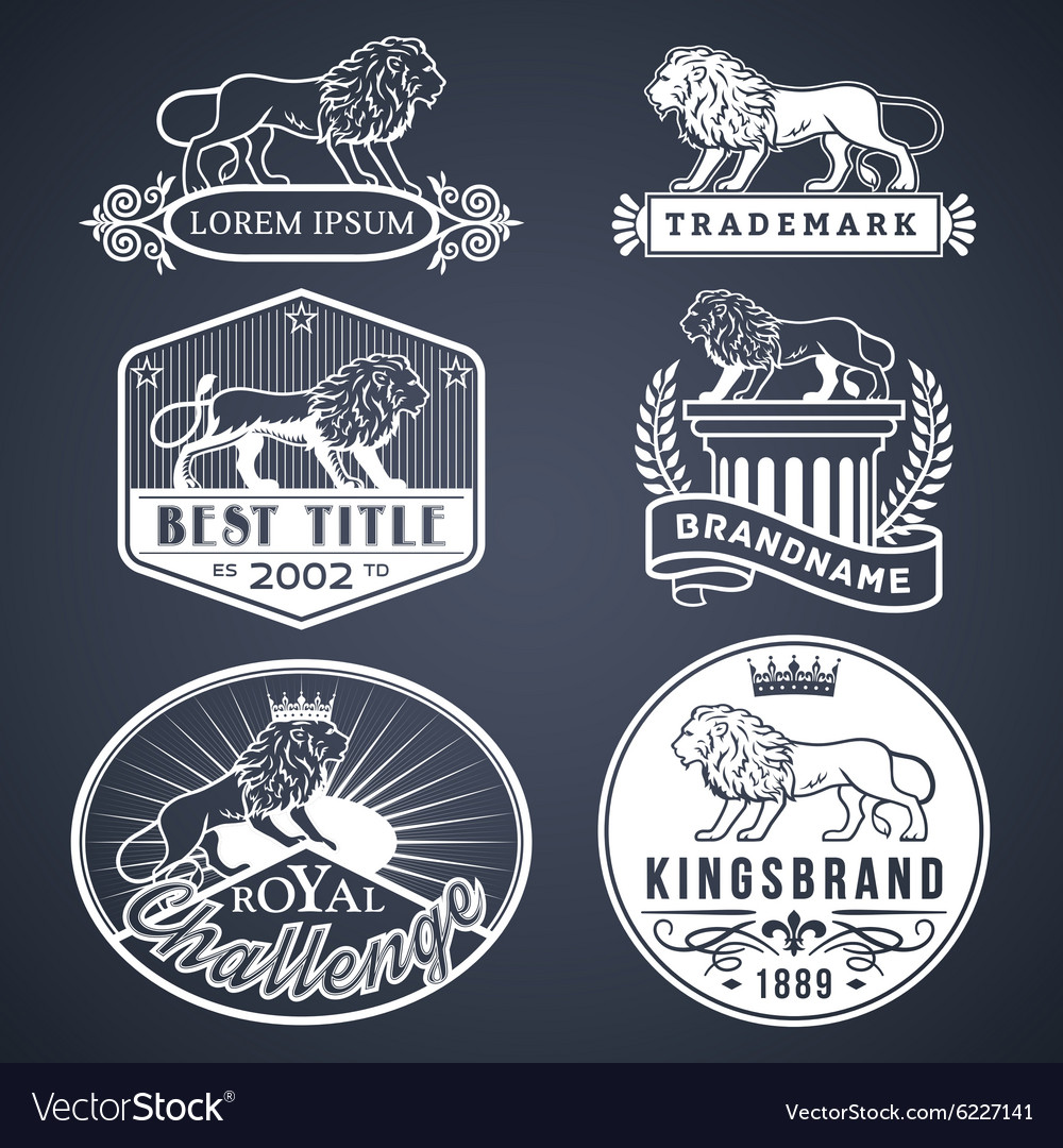 Lion labels white vector