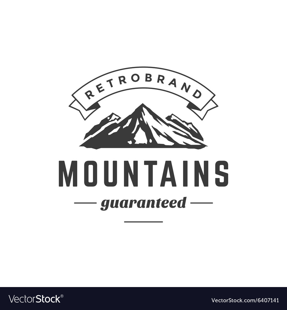 Mountain vintage logo template emblem high rock vector