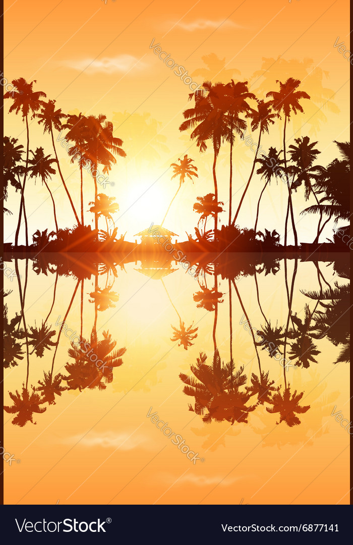 Orange sky palms silhouettes with reflection vector