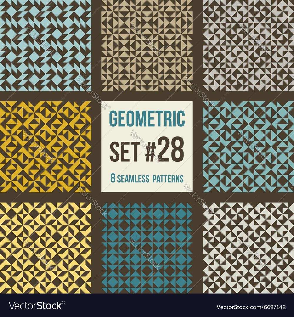 Set of eight geometric patterns vector