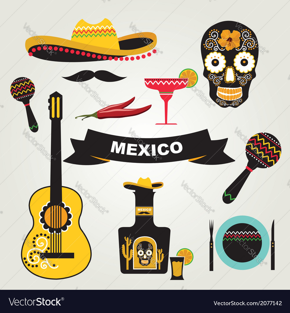 Set of mexican icons vector