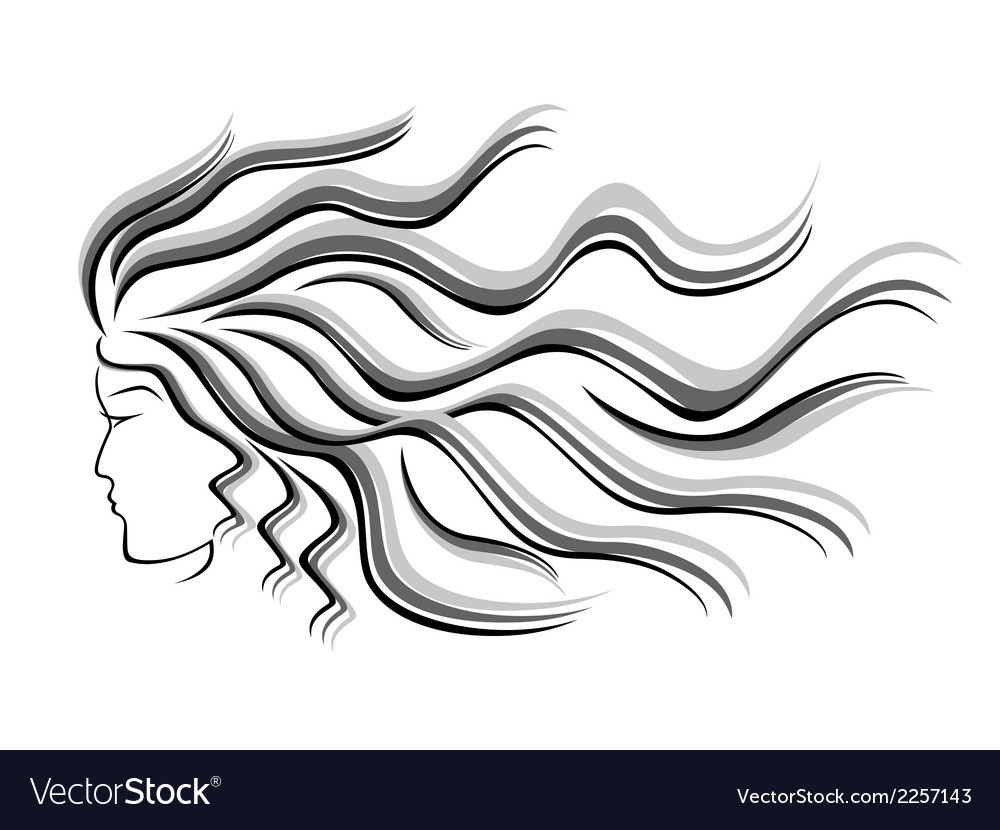 Female silhouette head with flowing hair vector
