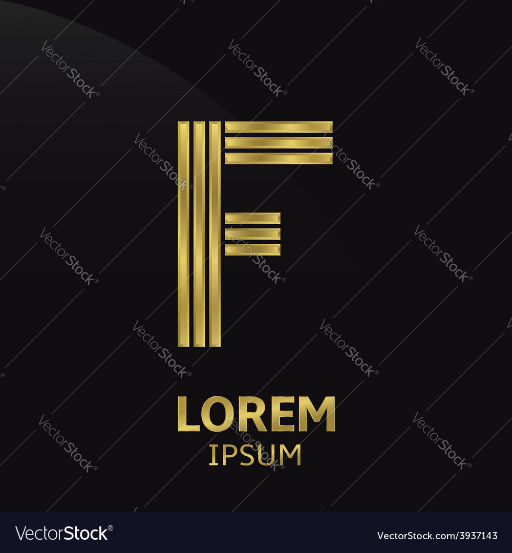 Golden letter symbol vector