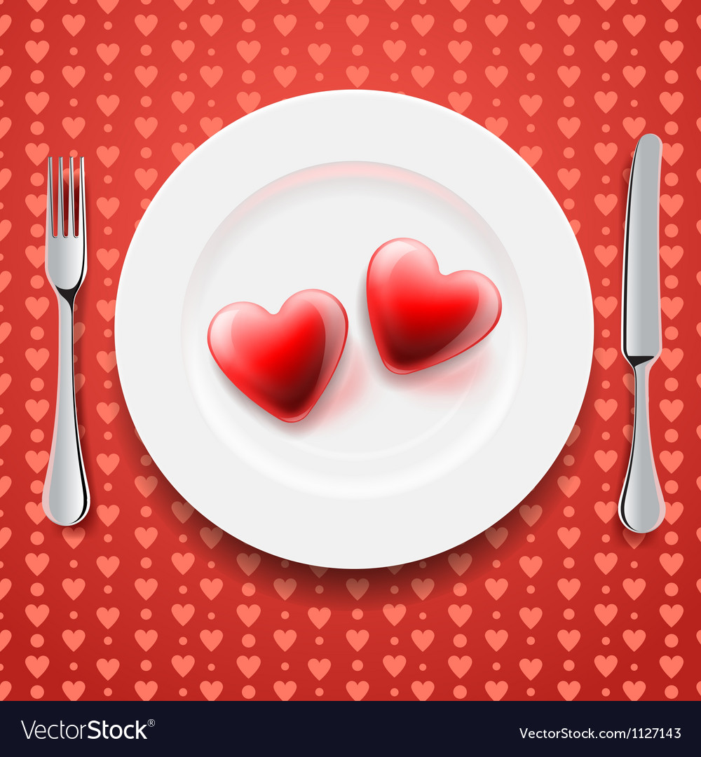 Red hearts on a plate valentines day vector
