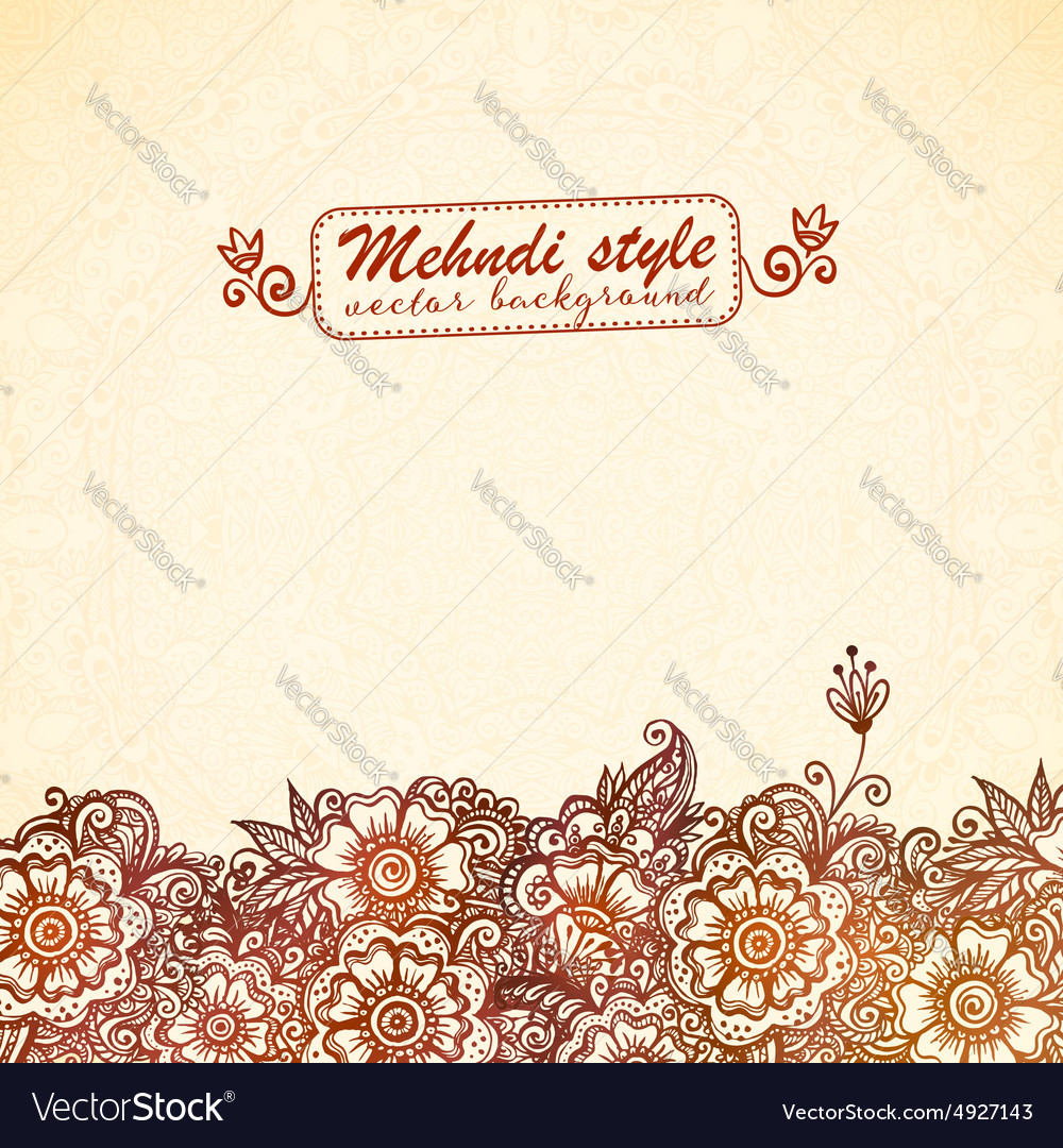 Vintage background in indian henna mehndi style vector
