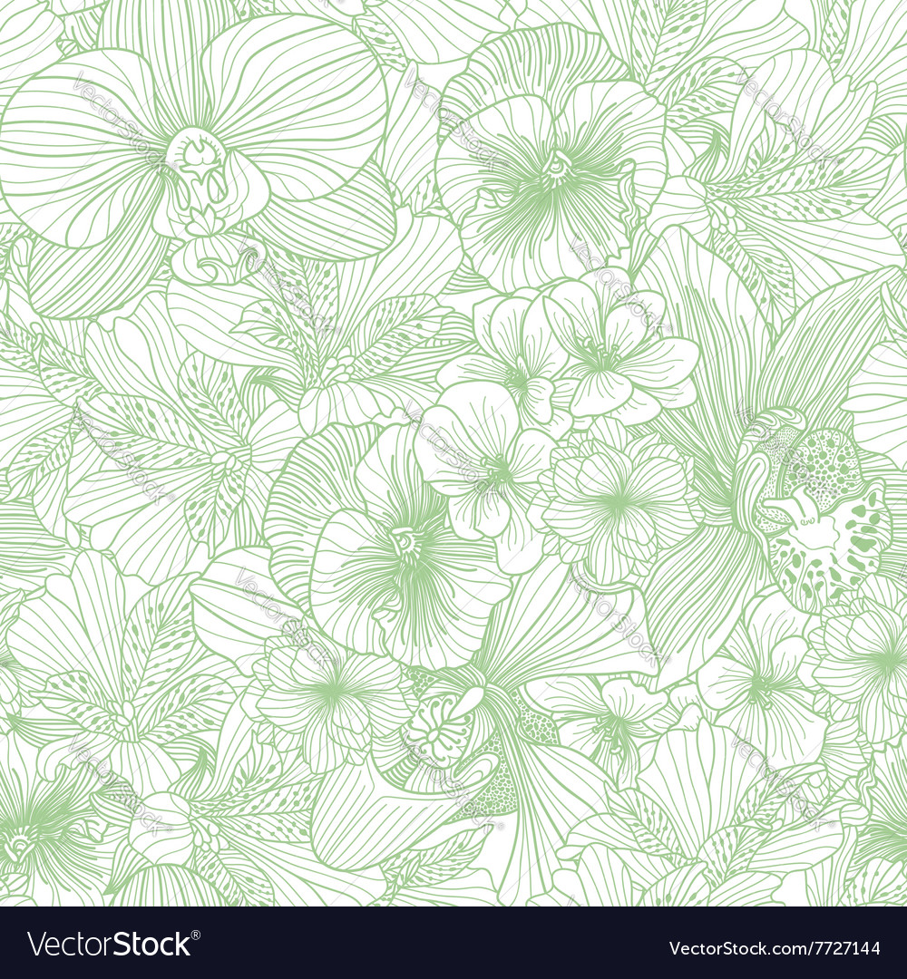 Seamless flower line art pattern vector