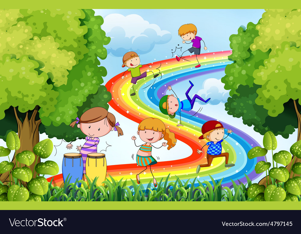 Children and rainbow vector