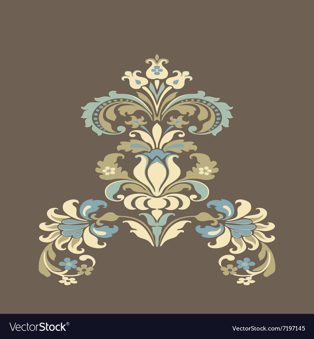 Colorful damask floral element design pattern back vector