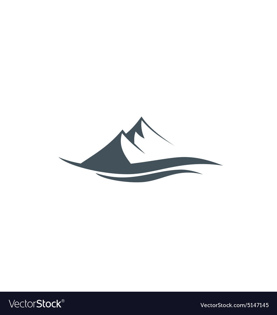High mountain landscape line logo vector