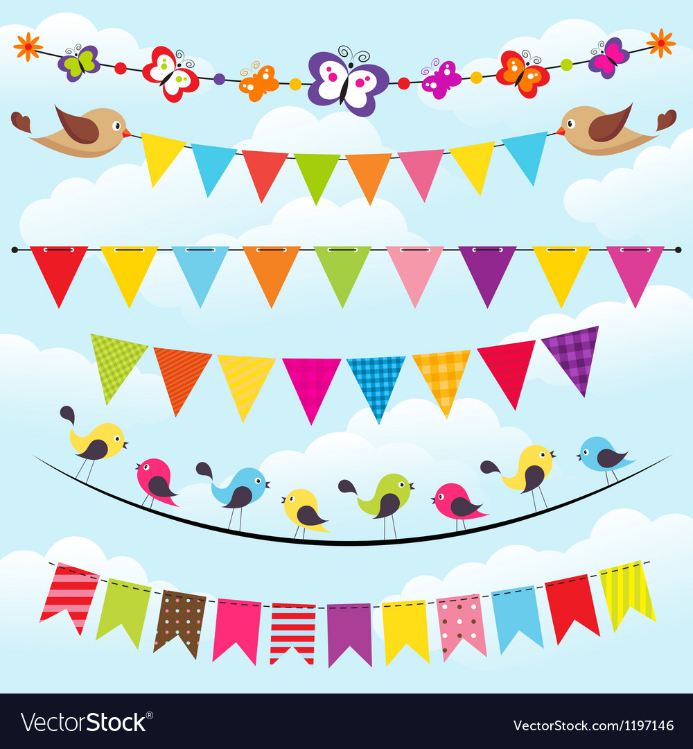Bunting and garland set on the sky vector