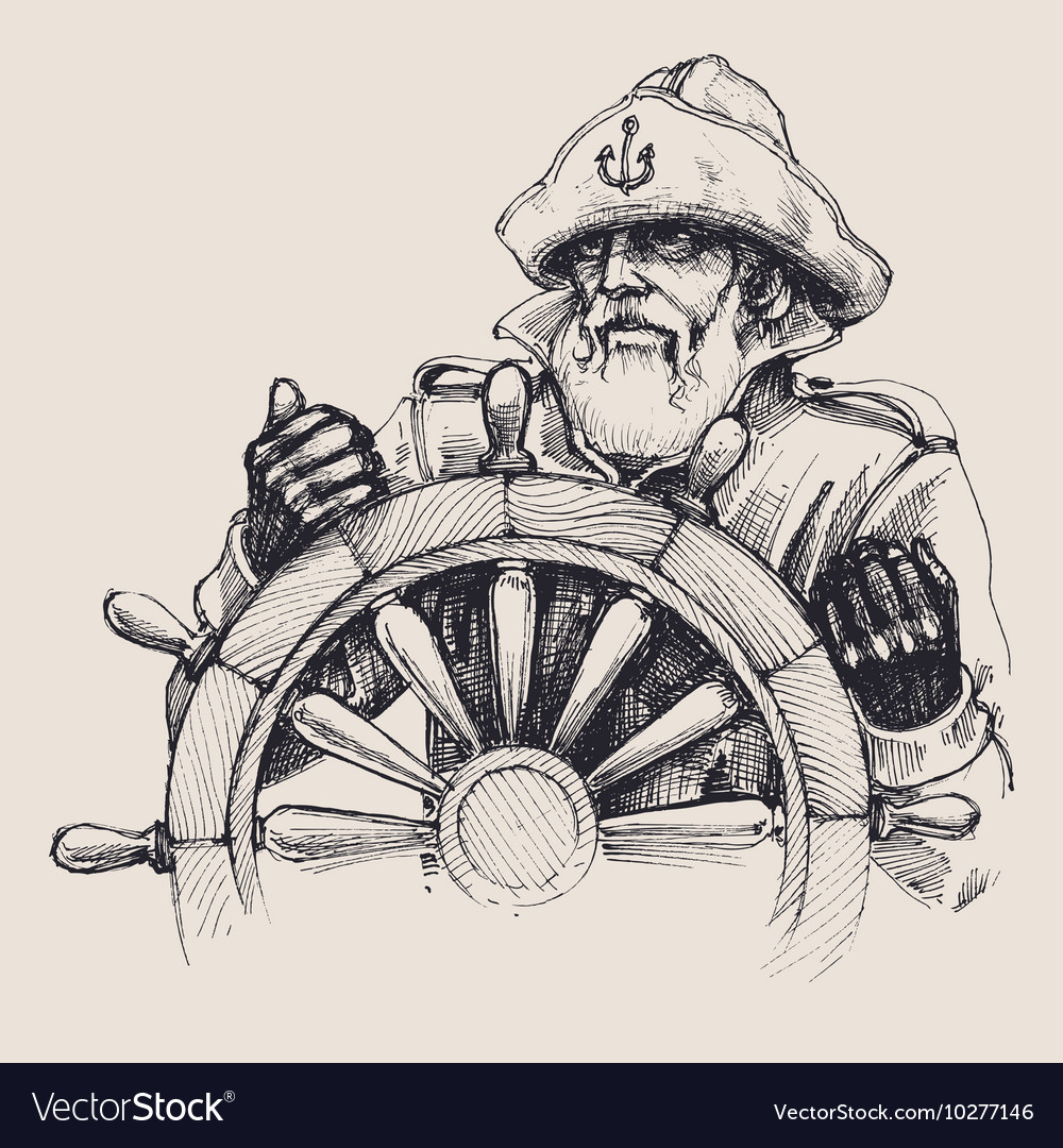 Portrait of a sailor drawing vector