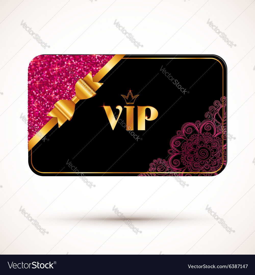 Black vip card template with pink glitter effect vector