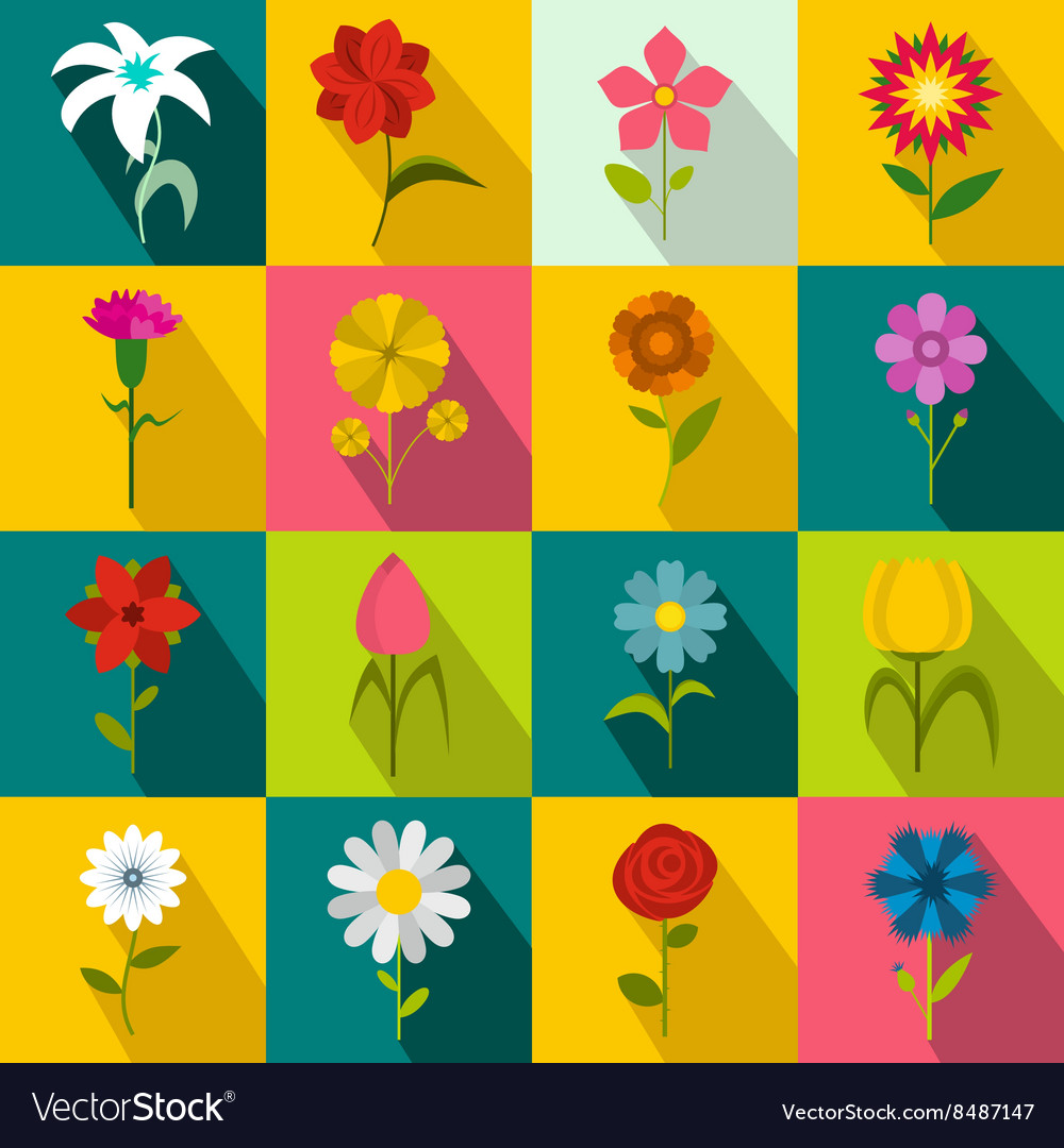 Flower icons set flat style vector