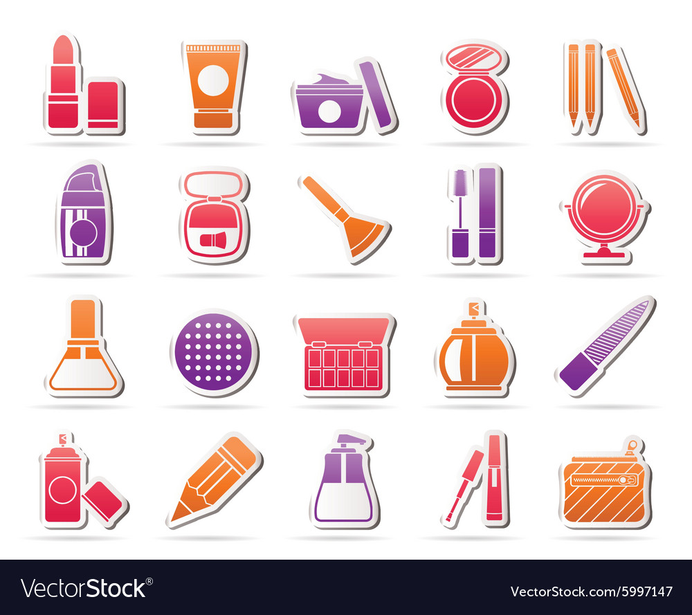 Makeup and cosmetics icons vector