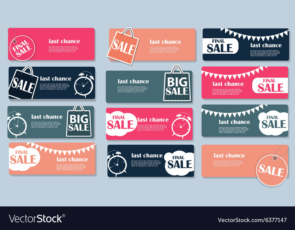 Sale banner set with place for your text vector