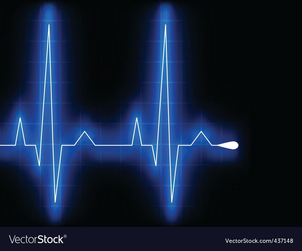 Blue heart beat ekg graph vector