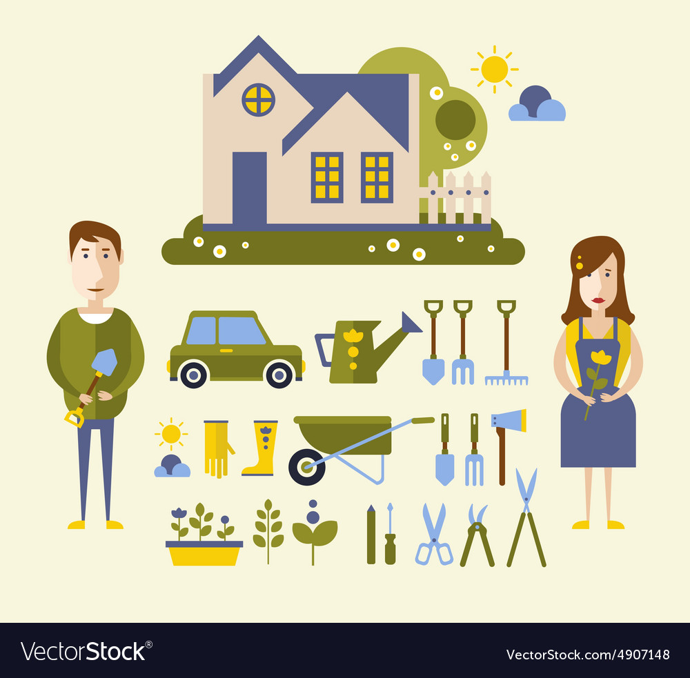 Garden and orchard flat vector