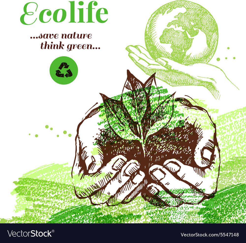 Sketch ecology background hand drawn vector
