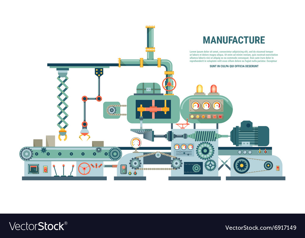 Industrial abstract machine in flat style vector