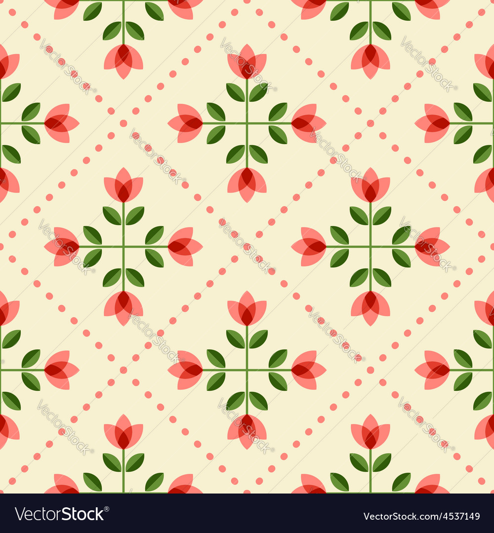 Seamless floral patern with abstract flowers vector