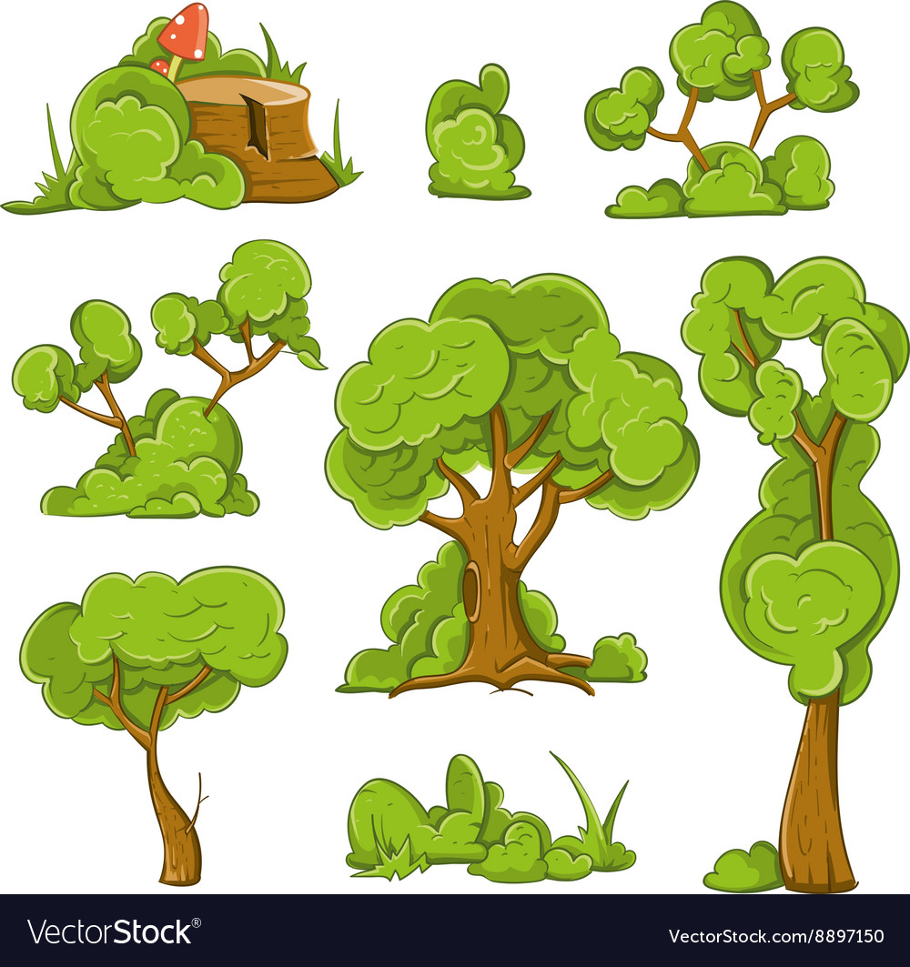 Cartoon trees and bushes set vector