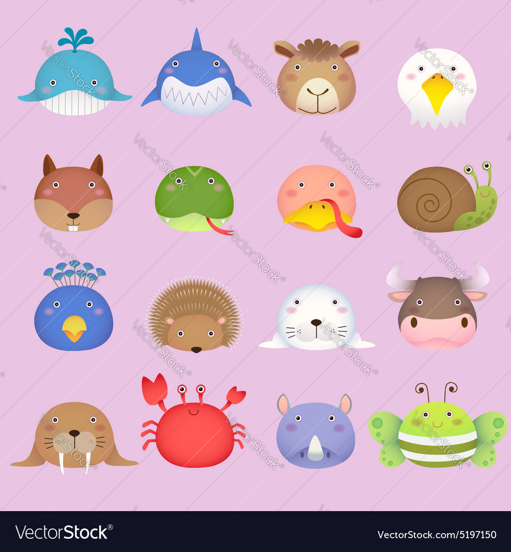 Cute cartoon animal head set 3 vector