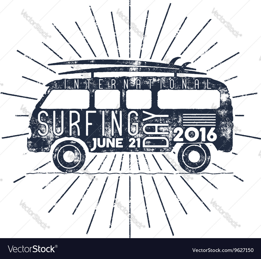 Surfing day typography label vacation vector