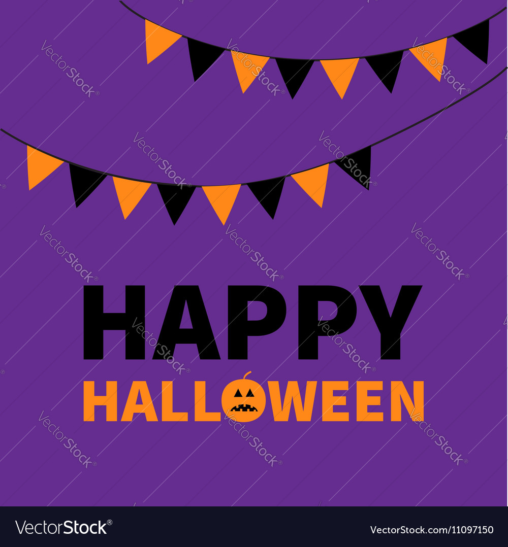 Triangle paper flags happy halloween lettering vector