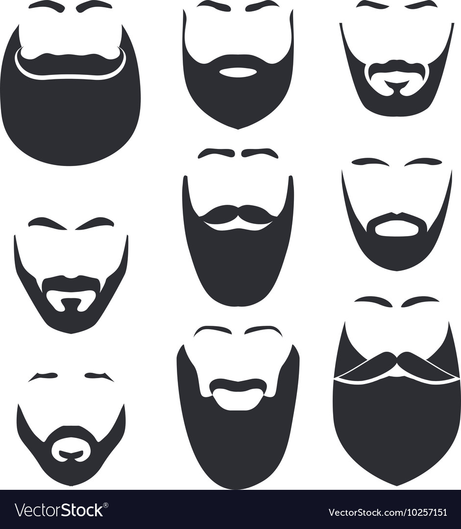 Isolated face with mustache and beard logo vector