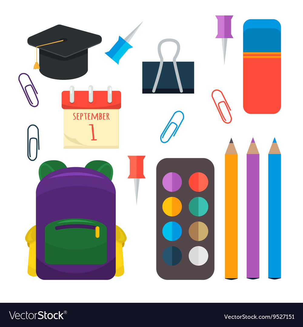 Various individual school supplies set vector