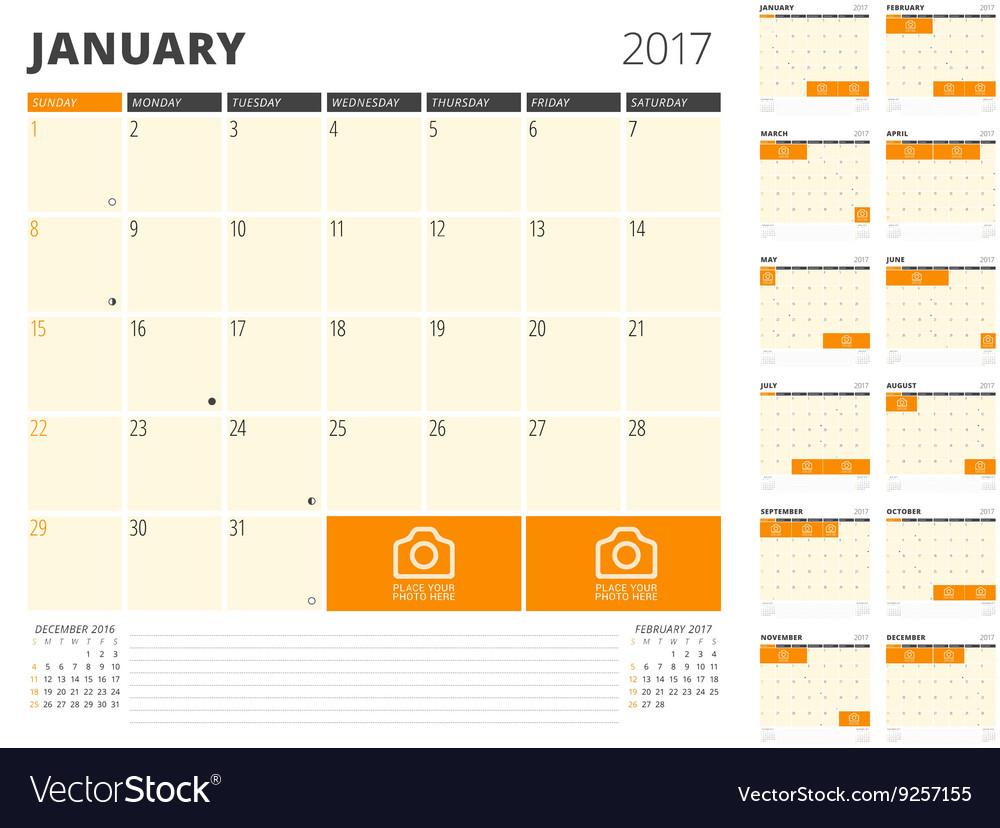Calendar planner for 2017 year design template vector