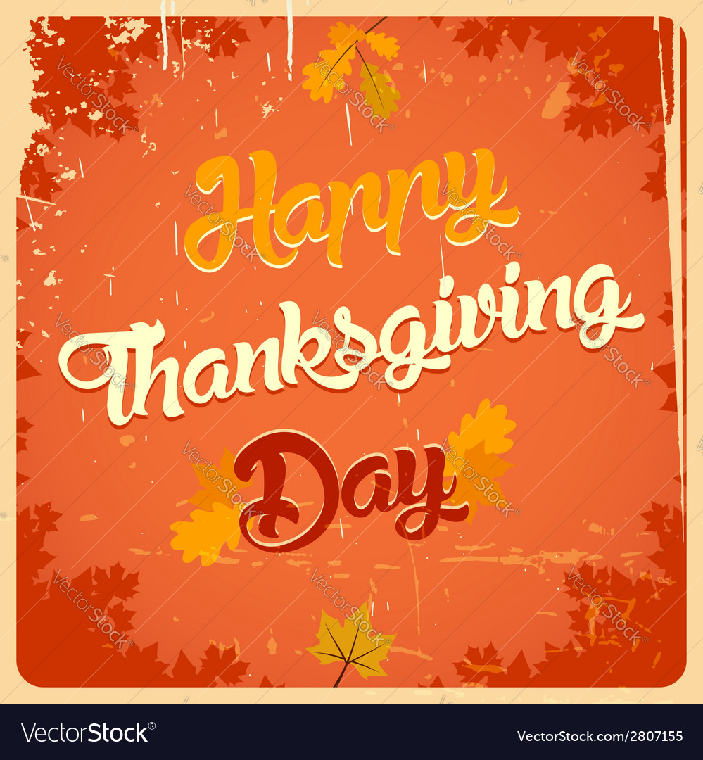 Happy thanksgiving day vintage poster vector