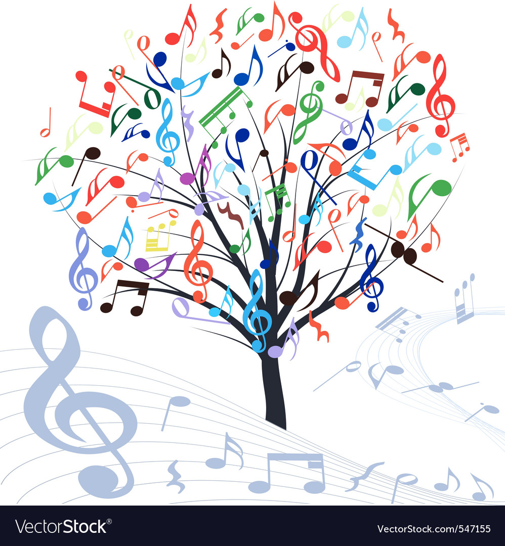 Music tree design element vintage backgroun vector