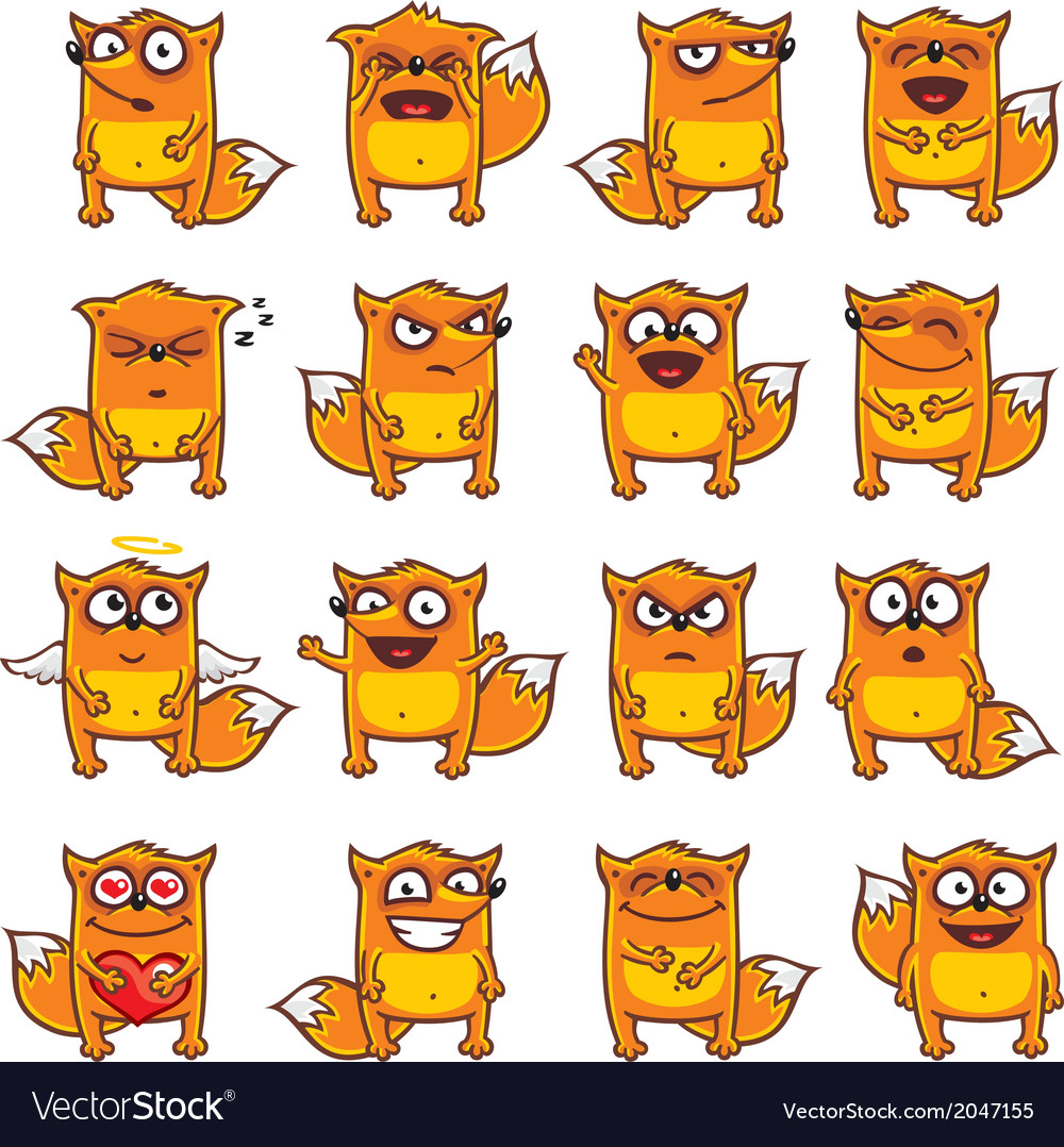 Smiley foxes vector