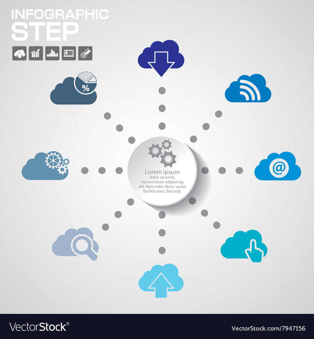 Cloud computing and data management vector