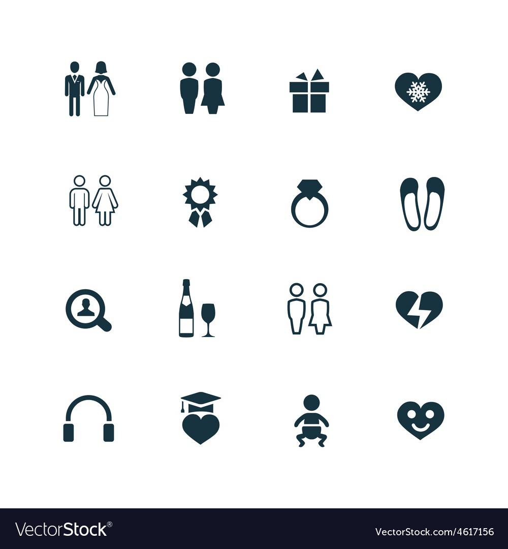 Couple love icons set vector