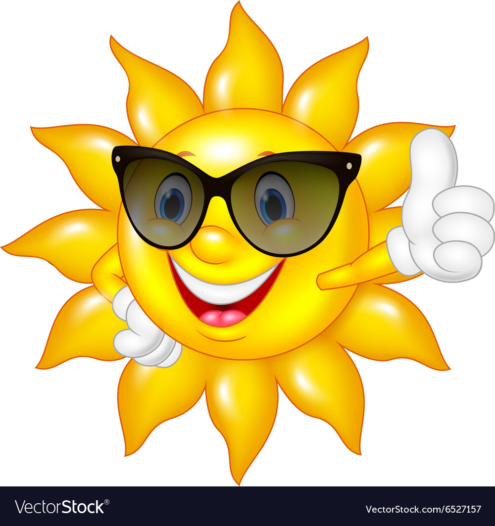 Cartoon sun giving thumbs up isolated on white bac vector