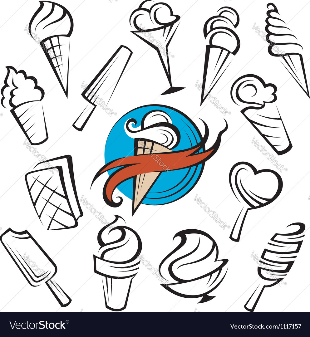 Ice creams set vector