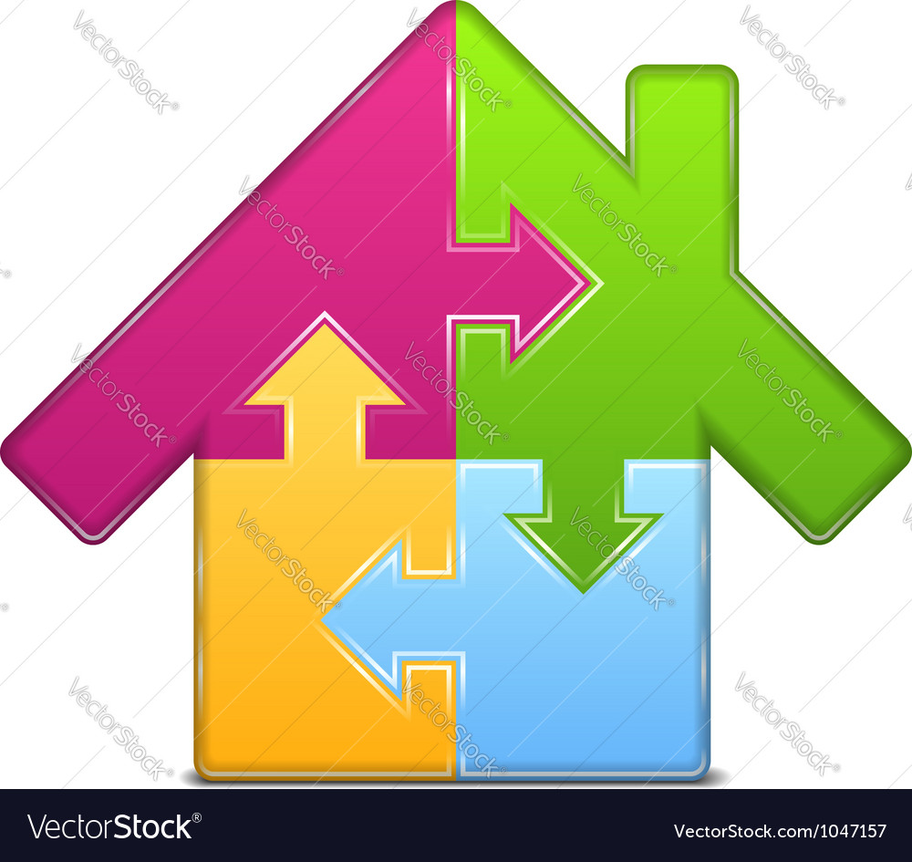 Puzzle house icon vector