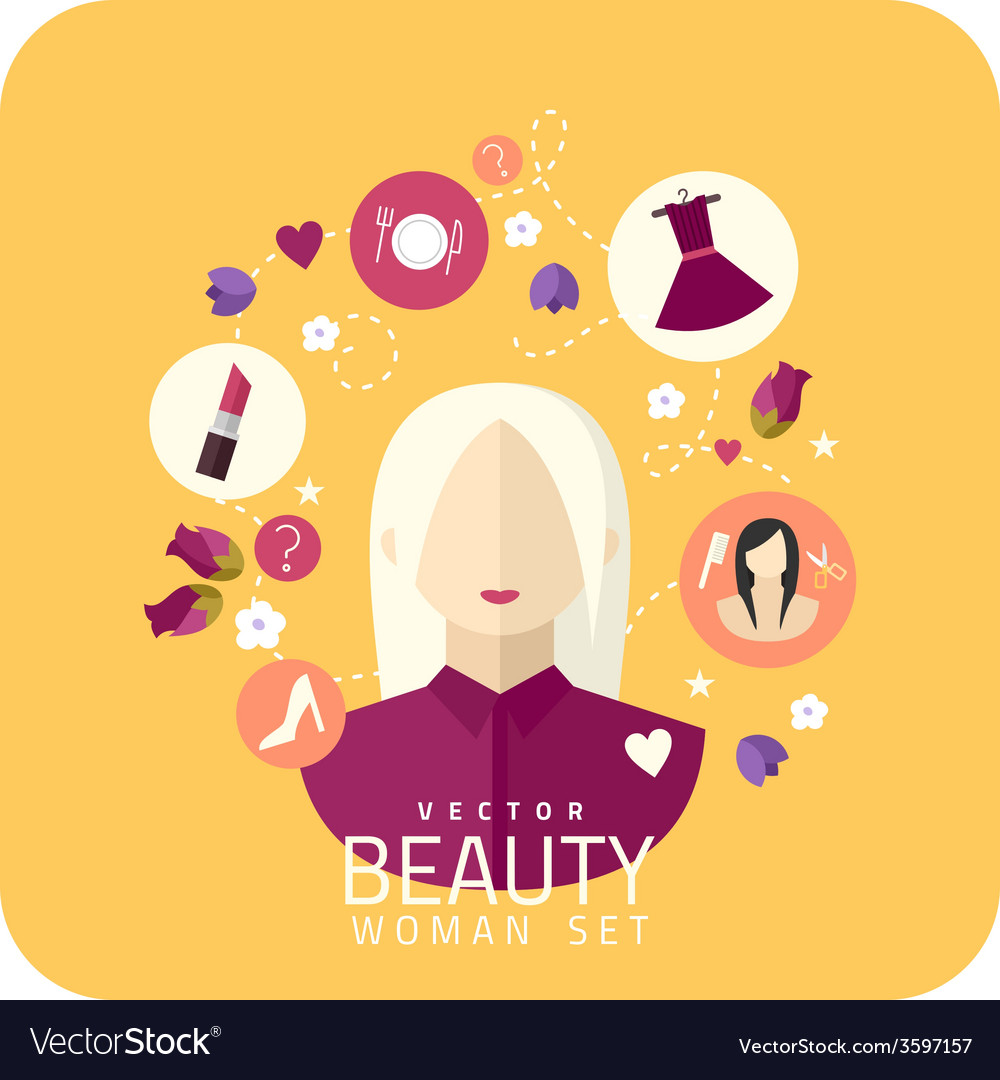 Shopping woman and makeup icons flat vector