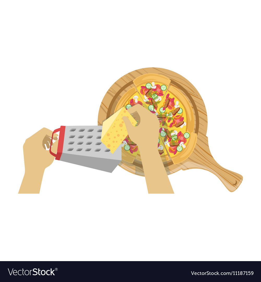 Child cooking pizza with only hands vector