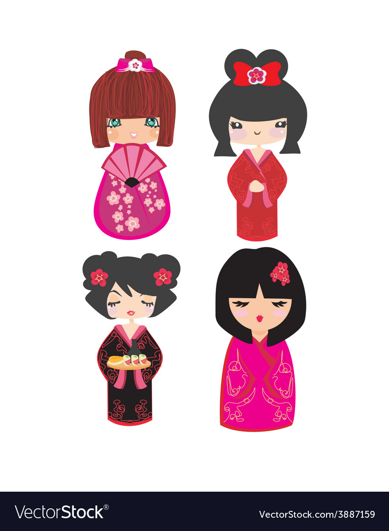 Kokeshi dolls in various designs isolated on white vector