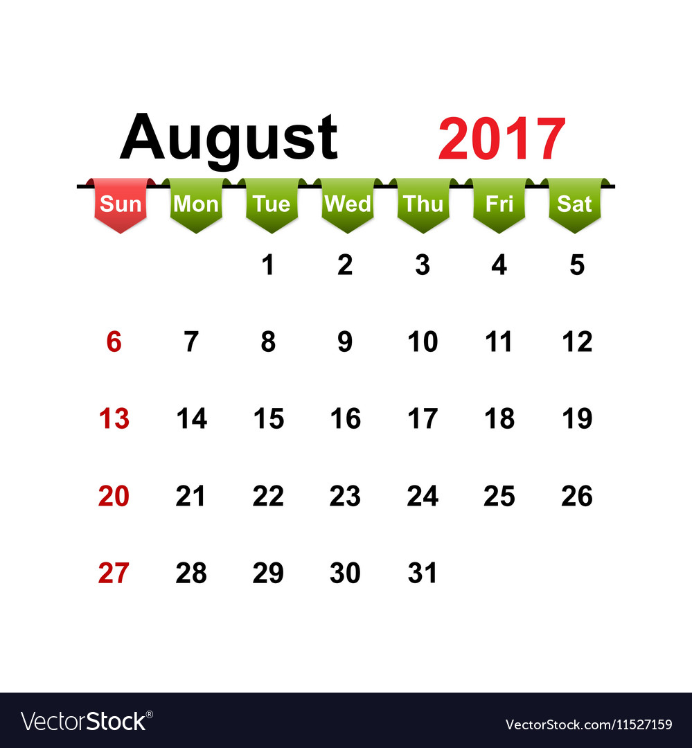 Simple calendar 2017 year august month vector