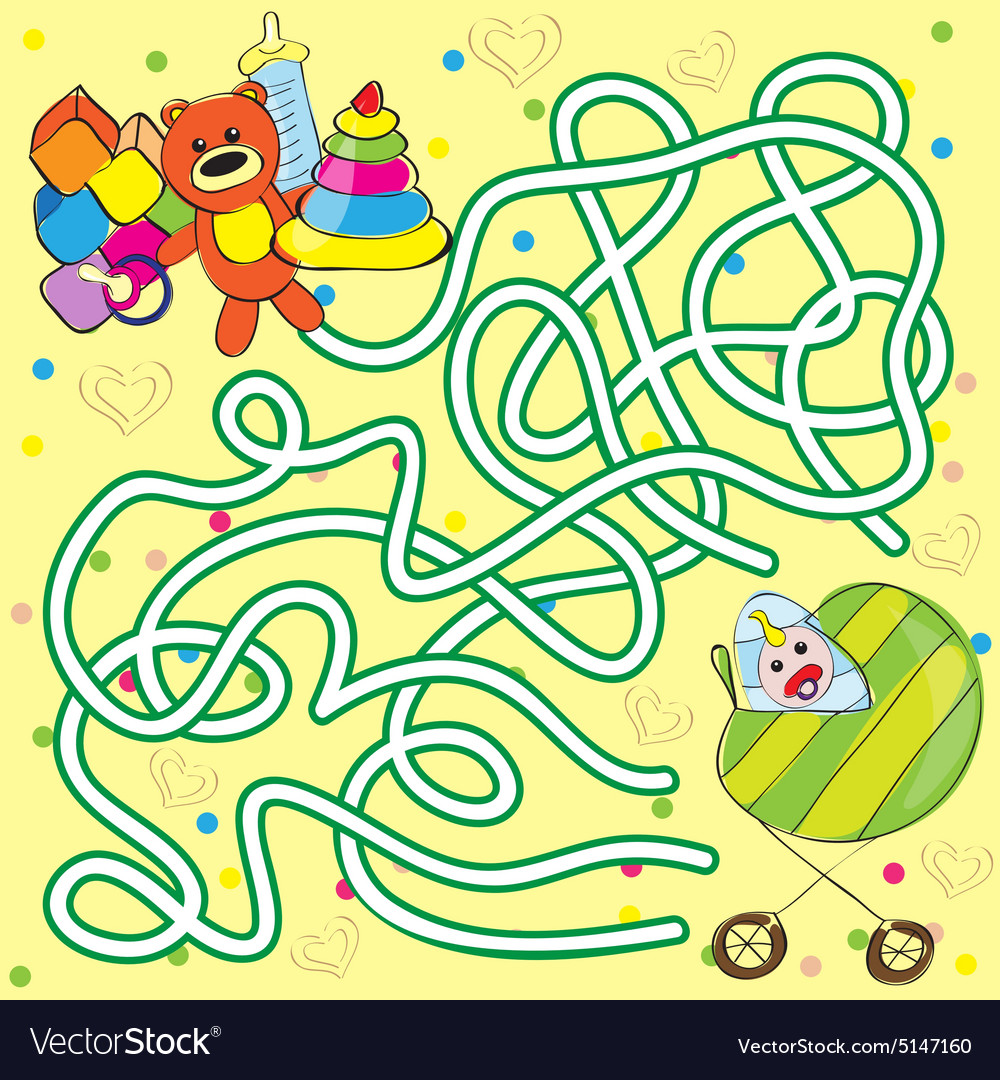 Maze for kids  help the baby to get toys vector