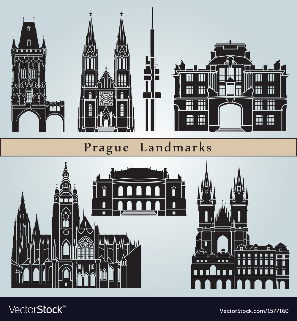 Prague landmarks and monuments vector