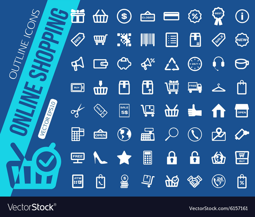 Mega collection of outline shopping icons online vector